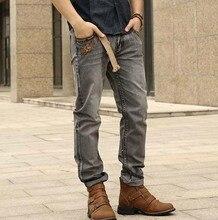 2016 мода весна осень Мужчины тонкие джинсы вышитые джинсовые брюки коммерческие случайные прямые джинсы для мужчин