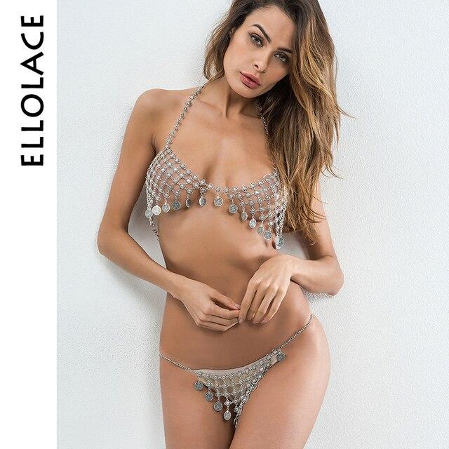 f3fc5fa047 Ellolace Sexy Women Body Chain Bra Set Rhinestone Bikini Thong Halter Top  Hollow Tassel Luxury Nightclub Party Beach 2018 Summer