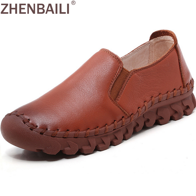 Brand Hand Sewing Shoes For Women 2017 Spring Autumn Genuine Leather Soft Flat Shoes With Elastic Band Lazy Shoes Casual Loafers yobangsecurity wireless wifi gsm gprs rfid home security alarm system with ip camera solar power outdoor siren smoke detector