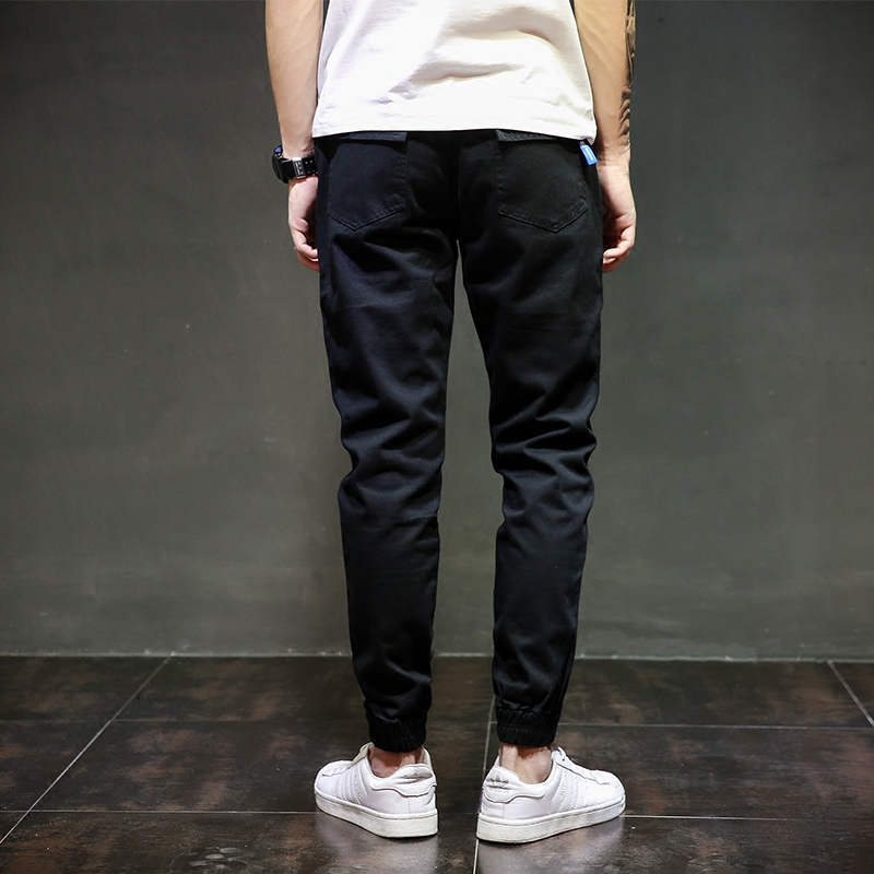 6d27e1c5f1b7 European American Fashion Streetwear Mens Jeans Jogger Pants Youth Fashion  Summer Ankle Banded Pants Brand Boot Cut Jeans Pants-in Jeans from Men s  Clothing ...