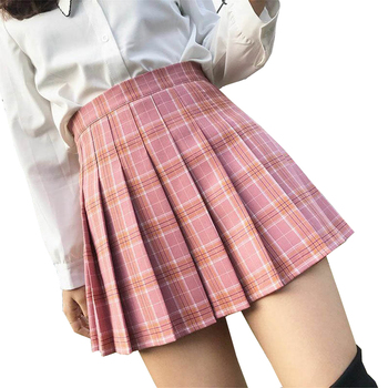 XS-3XL Women Skirt Preppy Style High Waist Chic Stitching Skirts Summer Student Pleated Skirt Women Cute Sweet Girls Dance Skirt 1