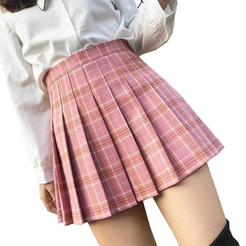 XS-2XL 여름 격자 무늬 치마 여성 2020 높은 허리 세련된 바느질 학생 pleated 스커트 여성 귀여운 달콤한 여자 댄스 치마