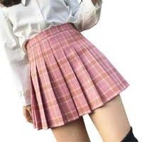 XS-3XL falda de mujer estilo Preppy alta cintura elegante costura faldas verano estudiante plisado Falda Mujer Linda dulce chicas Falda de baile