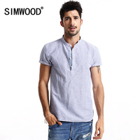 Simwood Brand 2016 New Arrival Summer Short Sleeved White Solid Color Slim Fit Plus Size Free