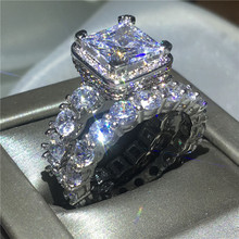 цена на Vintage Engagement Wedding Band Rings set for women men AAAAA zircon cz White Gold Filled 925 silver ring Bridal Jewelry Gift