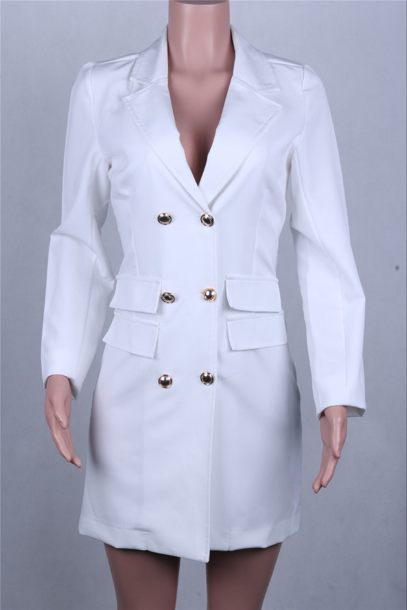 LEDEDAZ Spring Autumn 2019 V-Neck Double-Breasted Office Women Blazer Black White Green Slim Casual Jacket Suits Long Sleeves