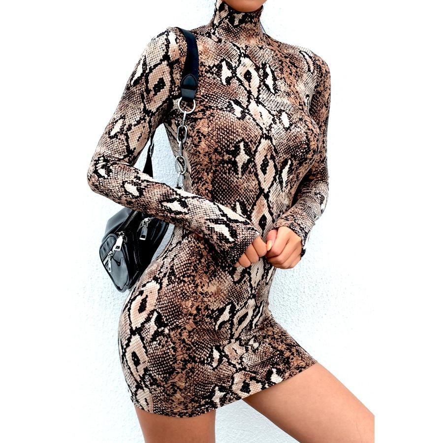 Snake Skin Print Turtleneck Short Sleeve Dress 2019 Autumn Women Sexy Bodycon Snakeskin High Neck Party Mini Dresses