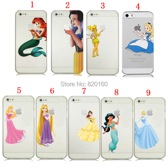 bilder für Für iPhone 4 s 5c 5 5 s SE 6 6 s 7 Plus Prinzessin Schneewittchen Kleine Meerjungfrau Halten Semi Hard cover fall