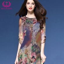 MYCOURSE Dress Floral Print Asymmetric Midi Silk Dress for Women New Fashion Vintage Half Sleeve Loose Summer Dresses Vestidos