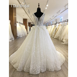Image 1 - Shinny Bling Wedding Dress Bridal Gown V Neck Ball Gown Illusion Button Back