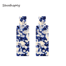 STRATHSPEY Bohemia Tortoiseshell Drop Earrings For Women New Design Rectangle Leopard Resin Statement Earring Fashion Jewelry