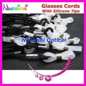 Image 2 - 추천 100 pcs 고품질 흰색 실리콘 팁 검은 안경 선 글래스 안경 폴리 에스터 문자열 코드 끈 l709