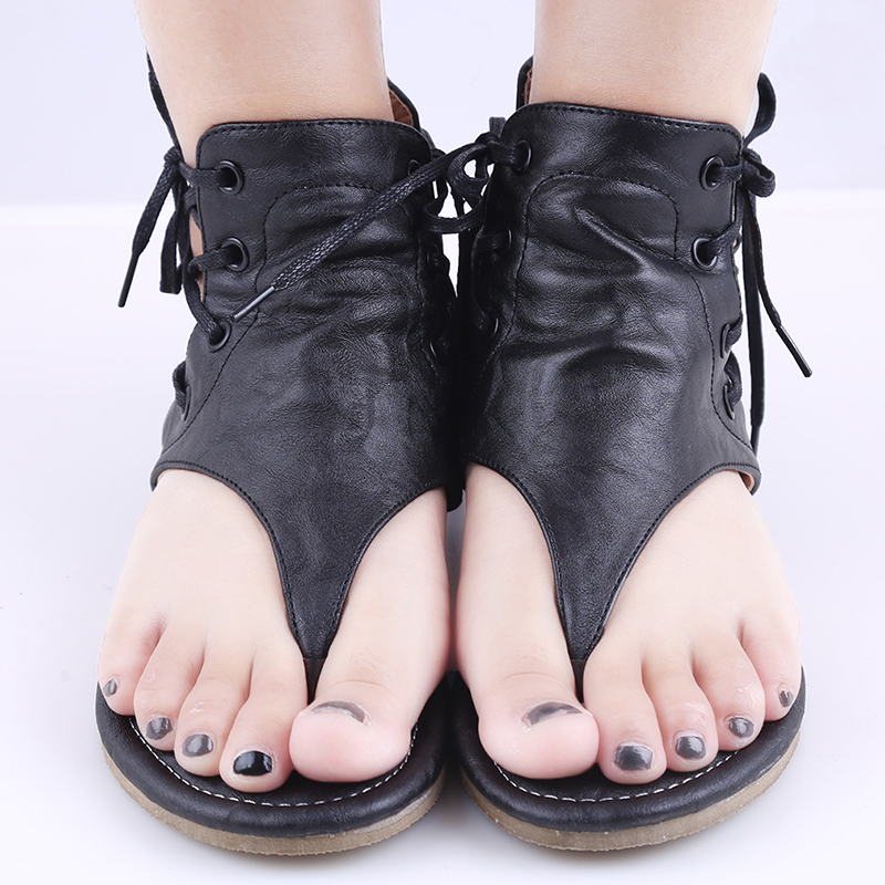 Summer Sandals Buckle-Strap Flip-Flops Flat-Shoes Casual Wedges Fashion Pleated for Women