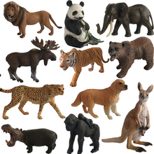 1pc Animal Model Action Figures Zoo Park Simulation Tiger Lion Panada Kangaroo Models For Kids Early Education Toy #E