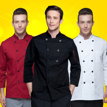 high quality 2018 men long-sleeved Chef service Hotel working wear Restaurant work clothes Tooling uniform women cook Tops