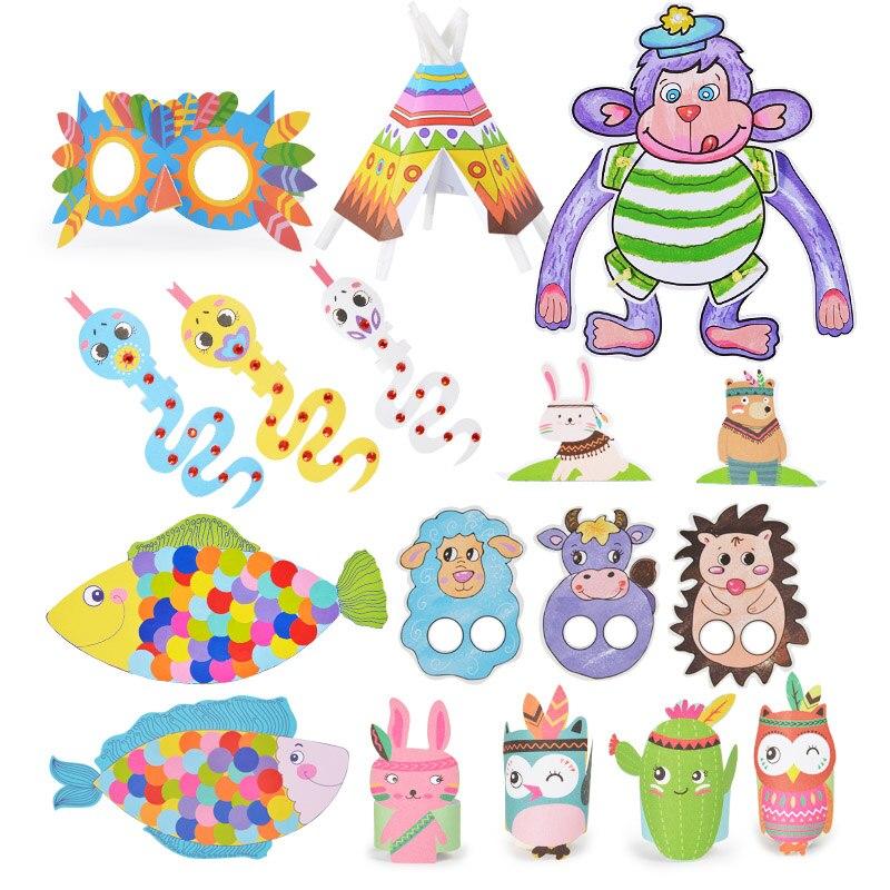 Carte de bricolage pour enfants, 109 pièces, Puzzle en papier de couleur, modèle de jouet créatif, animaux de dessin animé, coupe et pliage de papier, bricolage, jouet