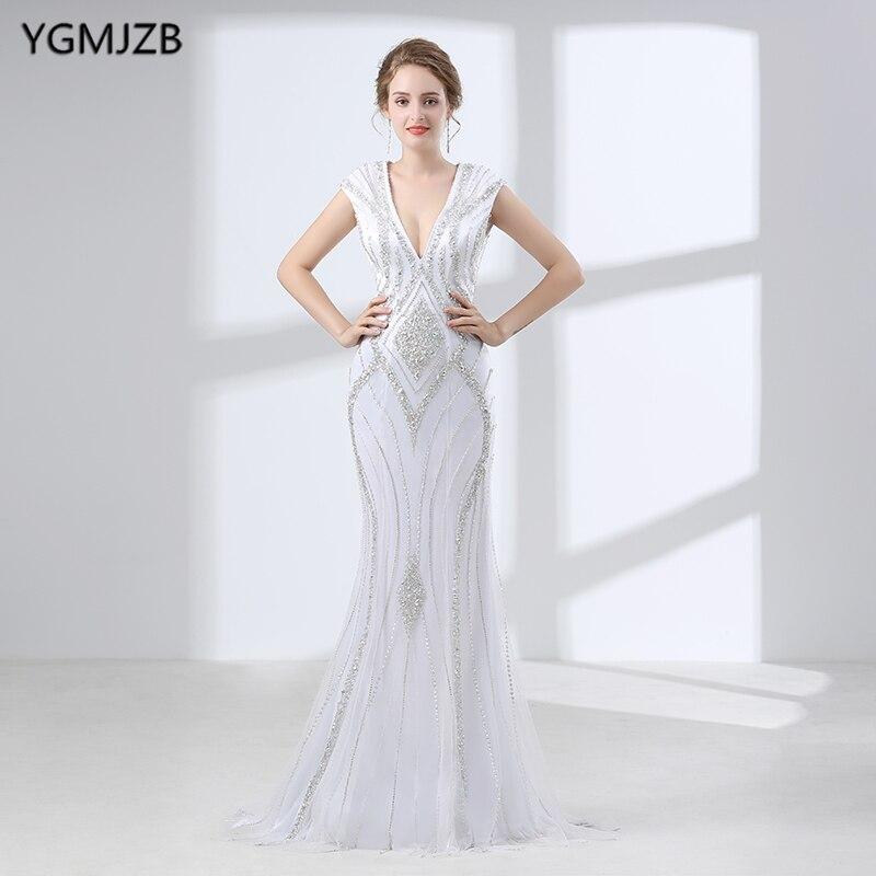 White Evening Dress Long 2018 Mermaid Luxury V Neck Heavy Beaded ...