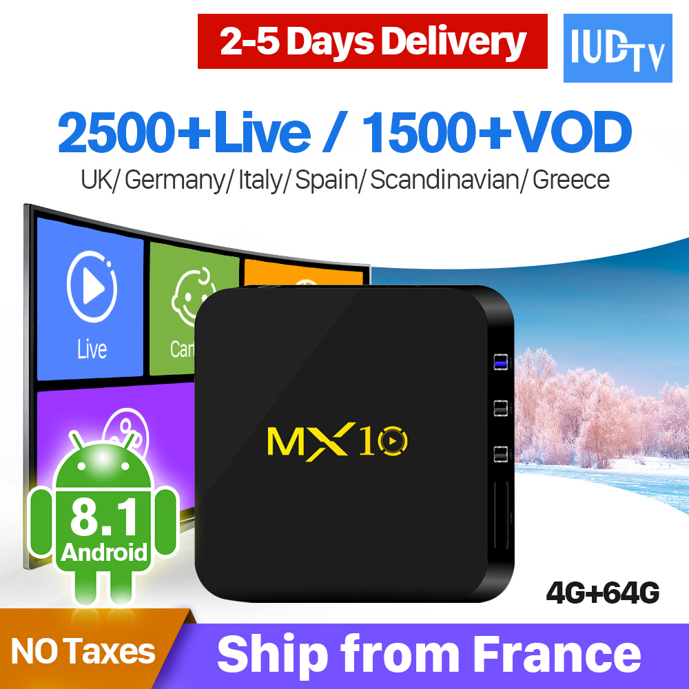 MX10 Android 8 1 Spain IPTV Sweden Greek Italy Germany 4 64G Android IPTV Receiver Turkish Portugal IUDTV 1 Year IP TV Box in Set top Boxes from Consumer Electronics