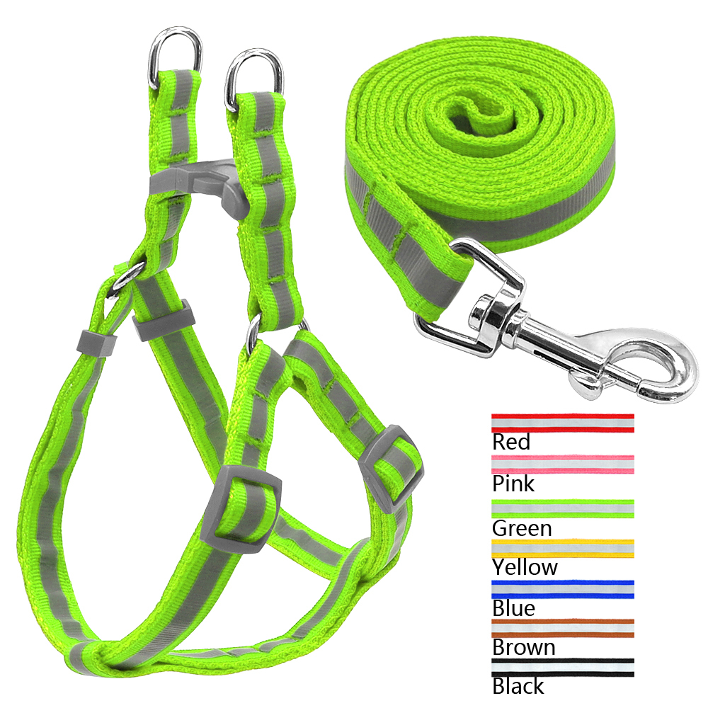 ZT7 Colors Nylon Reflective Dog Harness Leash Lead Set For Small Medium Dogs Puppy Chihuahua Yorkie S M /