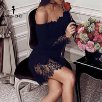 Missord 2019 Sexy Off Shoulder Long Sleeve Women Summer Dresses Black Color Elegant Mini Casual Dress FT8515