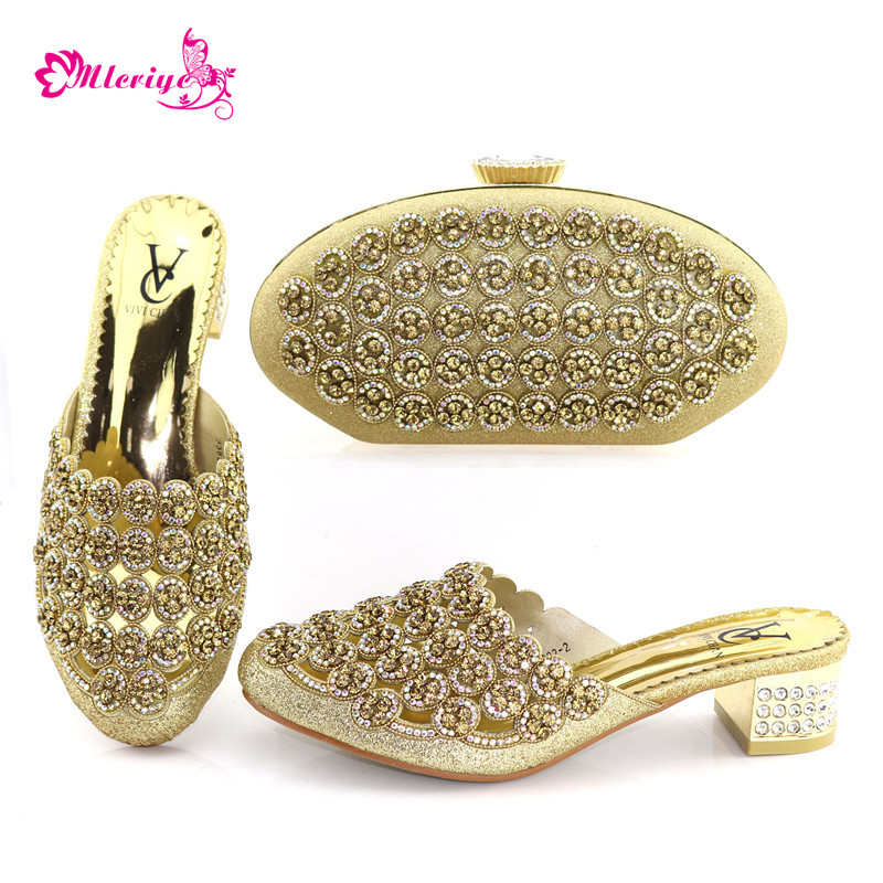 Latest Gold Color Matching Shoes And Bag Set African Shoes And Matching Bags Italian Nigerian Women Wedding Shoes And Bag Set italian gold color italian ladies shoes and bags to match set nigerian shoes and matching bag african wedding shoes and bag set
