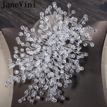 JaneVini Clear Crystals Wedding Hair Combs Bridal Luxury Beaded Headdress Boho Bride Party Comb Ornaments Fashion Jewelry