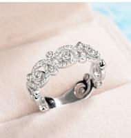 Размеры 5–10 игристое дизайнерские Роскошные ювелирные изделия 10 0% чистый 925 серебро 5 CZ геометрический Для женщин свадебные кольца подарок