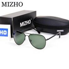 MIZHO Brand Design Stainless Steel G15 Green Lens Sunglasses Men Polarized PILOTT With Case