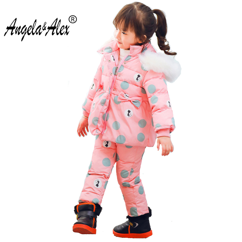 Angela&Alex Winter Baby Girls Clothing Sets Children Down Jackets Kids Snowsuit Warm Baby Ski Suit Down Outerwear Coat+Pants2-4T 2016 china factory russia winter parka padding jackets trousers overcoat clothing sets for boys ski suit reima baby snowsuit