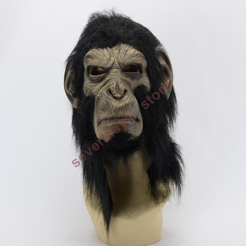 Halloween ape man Mask Animal Scary Creepy King Kong Chimpanzee Mask  Cosplay Animal Mask Costume Toys For Halloween Cosplay Prop