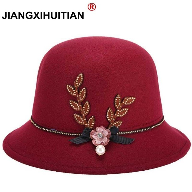 804c501c25b fashion new elegant hat winter female hat felt winter pure wool hold warm cap  hat for