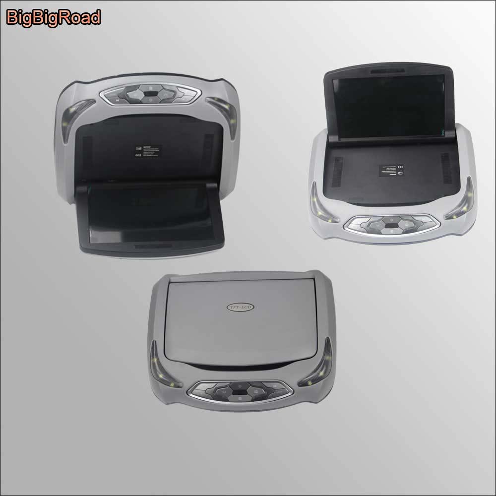 BigBigRoad 10,1 дюймовый ЖК дисплей для автомобиля, HDMI монитор, крепление на крышу, потолочный откидной дисплей, подключение автомобильного DVD плее