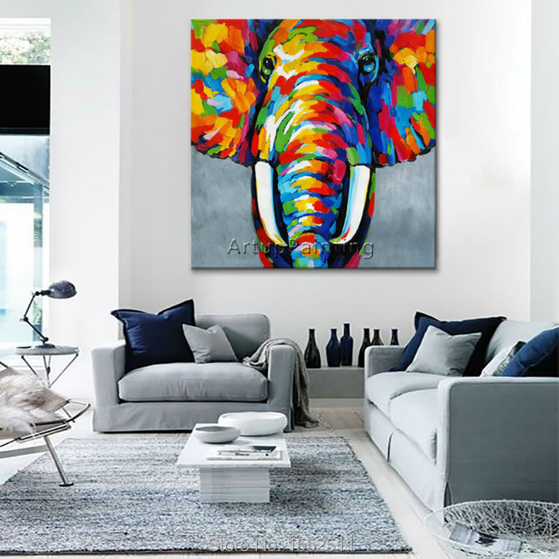 Animal Elephant Oil Painting On Canvas For Living Room Wall Art Pop Modern Abstract Hand Painted Wallpaper In Calligraphy