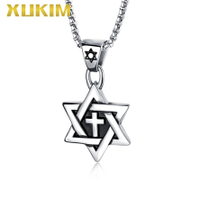PO416 Xukim Jewelry Punk Religion Cross Silver Six-Pointed Star Pendant with Chain Necklace Set rp115 s xukim jewelry silver pendant stainless steel cross pendant byzantine chain religion pendant necklace
