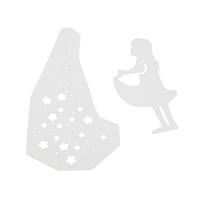Wishing Girl Cutting Dies Stencil DIY Scrapbooking Embossing Paper Card Crafts