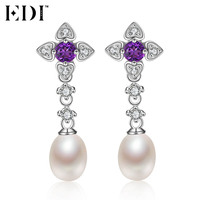 EDI Genuine Flower 3mm Natural Amethyst 925 Sterling Silver Party Earring Crystal Freshwater Pearls Fine Jewelry