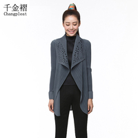 Miyak plisada irregular folds Temperamento abrigo de las mujeres mujeres de gran tamaño de la solapa de la chaqueta cardigan de manga larga de color Sólido chaqueta de DT