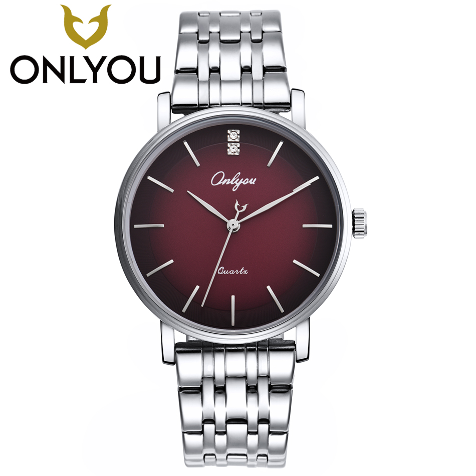 ONLYOU Top Business Men Gold Watches Fashion Red Surface Wristwatch Women Luxury Diamond Watch Male Dress Quartz Clock onlyou fashion hot sell man all steel watches 2017 diamond bracelet business watch black gold white luxury famous male clock