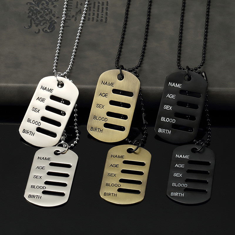 Mens Boys Hip Hop Fashion Military Dog Tag Necklace Stainless Steel Jewelry 70cm Long Beads Chain