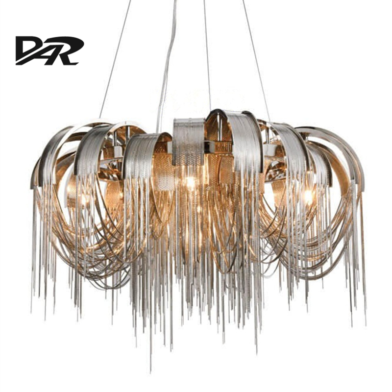 New Design Italy Aluminum Chain Tassel Pendant Lights E14 Led Silver Pendant Lamp Lamparas Colgantes Lustre Pendientes Hanglamp aluminum chain tassel pendant lights e14 led silver pendant lamp lamparas colgantes lustre project light pendientes hanglamp new