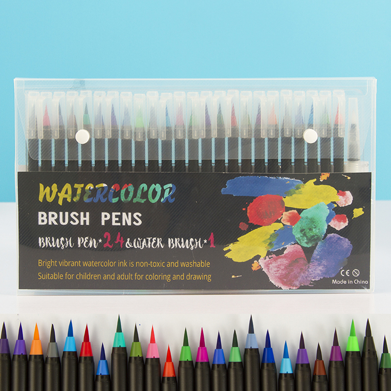Watercolor Brush Pens Set Of 24 - Vibrant Markers With Flexible Nylon Brush Tip For Coloring Books, Calligraphy