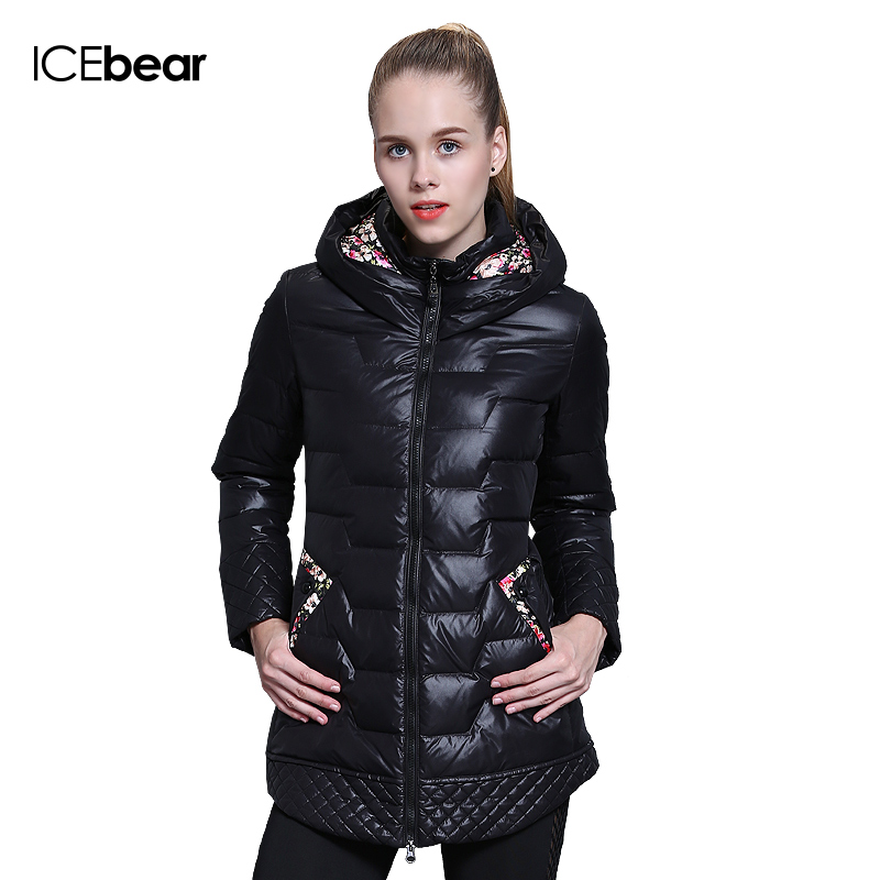 ICEbear 2017 winter brand fashion clothing specials in cultivate one's morality long duck down jacket women coat 66112-1