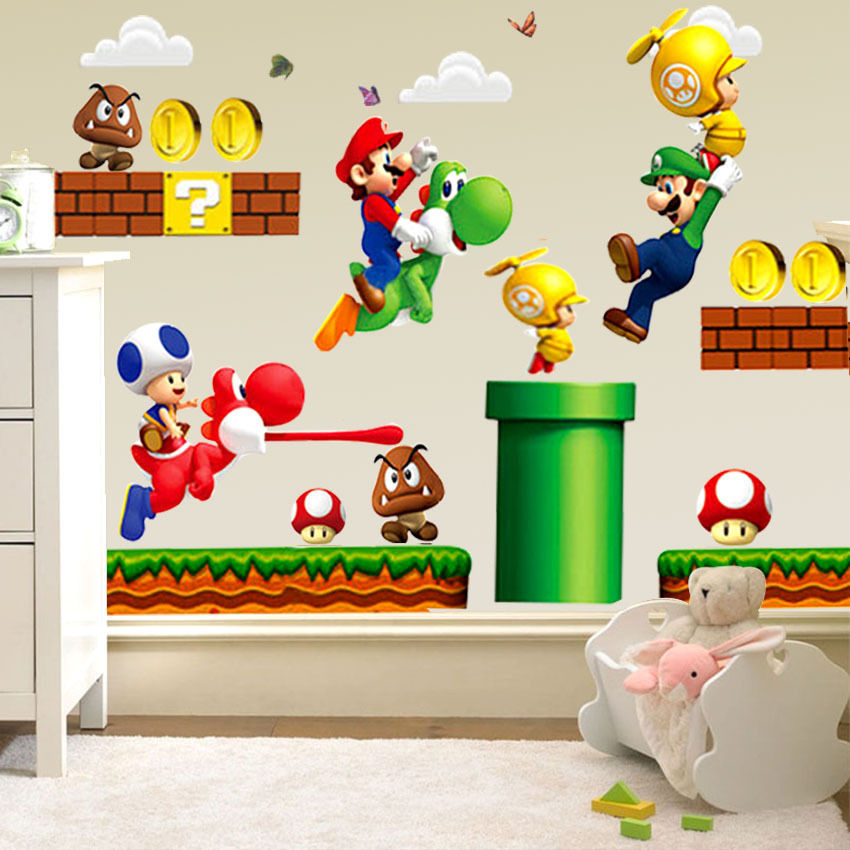 Mario Bros Muurstickers.Hot Nieuwe Super Mario Bros Mural Muurstickers Sticker Kinderkamer