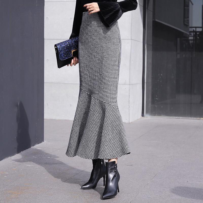 Dames De Se Zi Ruches Rétro Haute Élégant 2018 Sirène Bai Jupe Mode Poule Laine Femme Taille Femmes Jupes Ge D'hiver V29 Slim w1Oq1P5H