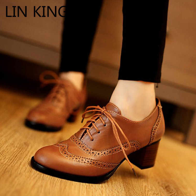 LIN KING Spring Vintage Woman Lolita Shoes Lace Up Thick Heel Women Single Shoes Big Size 34-43 High Heels Female Oxfords Shoes