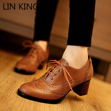 Купить с кэшбэком Vintage England Style Lace Up Thick Heel Boots Shoes For Women Big Size 34-43 High Heels Women Oxfords Shoes Woman Lolita Shoes