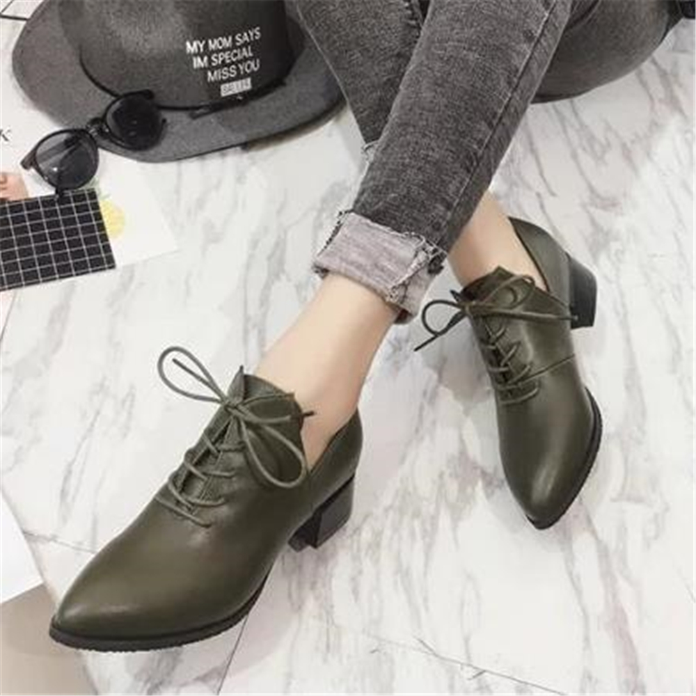 Ladies British Vintage Chunky  Street Shoes 2018 Autumn European New Style Students With Simple Shoes Elegant And  Women's Shoes