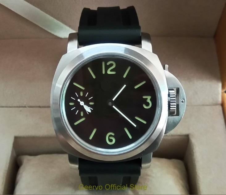 44mm GEERVO Black Dial Asian 6497 17 Jewels Mechanical Hand Wind Movement Men's Watch Green Luminous Mechanical Watches 194a
