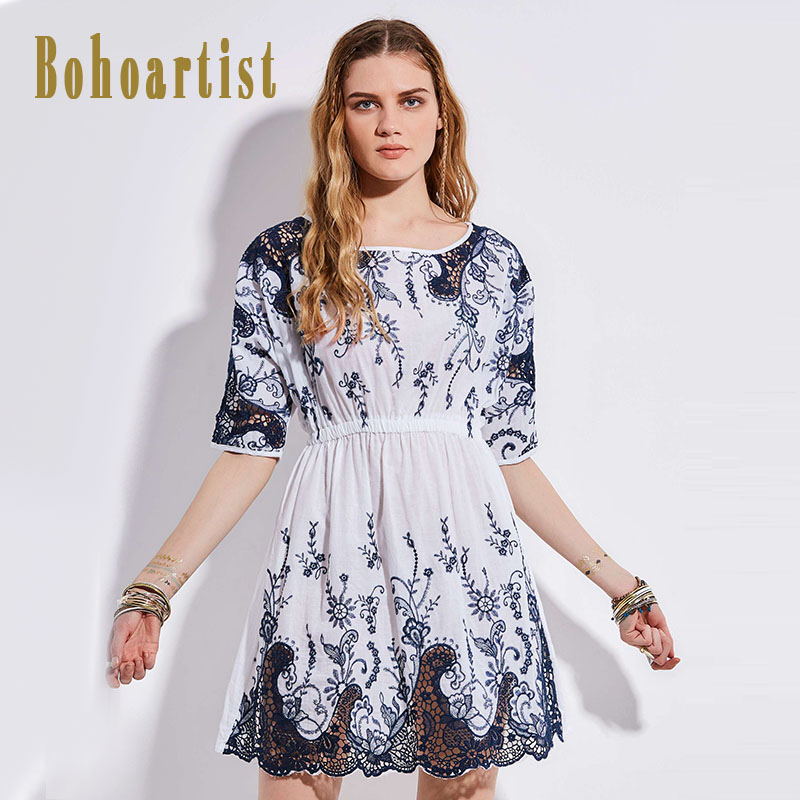 Bohoartist Summer Women A-line Patchwork O-Neck Mini Day Dress Women Print White Embroidery Pullover Half Sleeve Dress