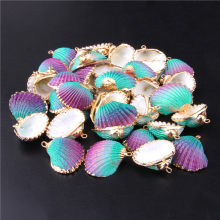 28mm * 25mm banhado a ouro rosqueado conchas para diy pingente artesanal brinco encantos natural casca estriada decoração de casa natural 3 pçs
